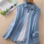 Pre-Order เสื้อเชิ้ตยีนส์ สีบลูยีนส์ ยีนส์เนื้อบาง แขนยาว ยีนส์ฟอก แฟชั่นเสื้อยีนส์สไตล์เกาหลีปี 2014