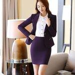 (พร้อมส่ง) ชุดสูทผู้หญิงยูนิฟอร์มพนักงานออฟฟิศ ชุดเสื้อสูทกระโปรงดินสอ สีม่วง