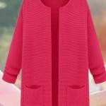 (Pre-Order) เสื้อไหมพรม เสื้อสเวตเตอร์ ถักจากผ้าฝ้าย แฟชั่นเสื้อสไตล์เกาหลี สีชมพู