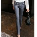 Pre-Order กางเกงผู้หญิงทำงานขายาว กางเกงแฟชั่นเกาหลี ขาตรง ผ้าฝ้ายผสม สำหรับสาวอวบ รูปร่างใหญ่ (สีเทา)