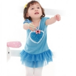 ชุดเดรสเด็กหญิงสีฟ้า รูปหัวใจ 12 เดือน - 5 ปี