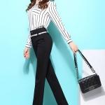 Pre-Order กางเกงขายาวผู้หญิงทำงานผ้ายืด เอวสูง ขาตรงกระบอกเล็ก ผ้าฝ้ายผสมสแปนเด็กซ์ กางเกงแฟชั่นเกาหลี สีดำ