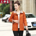 Pre-Order เสื้อแจ็คเก็ตผู้หญิง แขนยาว สีส้ม ติดซิปหน้า คอปกแต่งผ้าลายสก็อต