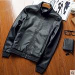 Pre-Order เสื้อแจ็คเก็ตหนัง แขนยาว หนัง PU คุณภาพดี สีดำ (03503)