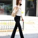 (Pre-Order) กางเกงผู้หญิงทำงาน สไตล์กางเกงเข็มขัดเอวสูง ทรงขาตรง กางเกงแฟชั่นเกาหลีแบบสบาย ๆ ผ้าขนสัตว์ผสม สีดำ