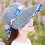 Pre-order หมวกแฟชั่น หมวกแก็ปปีกกว้าง หมวกฤดูร้อน กันแดด กันแสงยูวี สีฟ้าอ่อนแต่งด้วยผ้าพิมพ์ลายดอกไม้