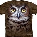 Pre.เสื้อยืดพิมพ์ลาย3D The Mountain T-shirt : Great Horned Owl Head