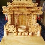 ศาลเจ้าที่หินอ่อน (ตี่จู้หินอ่อน ตี่จู้เอี๊ยะ) ขนาด 24นิ้ว 4เสา 5หลังคา 888 หยกน้ำผึ้ง