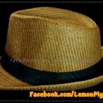 หมวกสาน ทรงไมเคิล สีน้ำตาลเข้ม ขอบเรียบ แถบดำ ฮิตๆ !!!