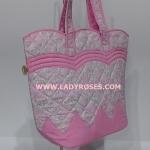 กระเป๋าสะพาย นารายา Size M ผ้าคอตตอน สีชมพู ลายดอกชบา สีขาว ทรงเปลือกไข่ (กระเป๋านารายา กระเป๋าผ้า NaRaYa กระเป๋าแฟชั่น)