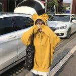 [พร้อมส่ง] เสื้อกันหนาวมีฮูดหมี มีสีเหลือง/ชมพู/กากี