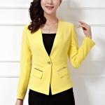 Pre-Order เสื้อสูททำงานแขนยาว เสื้อสูทระดับไฮเอนด์ เนื้อผ้าผสมเส้นใยอะซิเตด แฟชั่นชุดทำงานสไตล์เกาหลี สีเหลือง