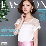 Pre-order เสื้อชีฟอง ทอลูกไม้ คอกลม เสื้อแฟชั่นเกาหลีแท้ สีขาว