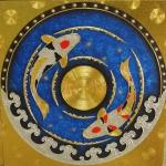 ภาพ ปลาคราฟ ไหว้ วนหยินหบาง ( เงิน ทอง สุขภาพ ไหลเวียนดี ) ภาพวาด ติด ทองคำเปลวแท้100% ขนาด1x1เมตร