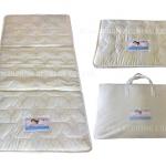 ที่นอนปิคนิค หุ้มผ้าแจ็กการ์ด สีครีมทอง มีกระเป๋าหิ้ว