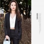 พรีออเดอร์ ชุดสูทผู้หญิง (เสื้อสูทแขนยาว+กางเกง) ผ้าผสม แฟชั่นเกาหลี