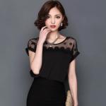 Pre-order เสื้อชีฟอง ทอลูกไม้ คอกลม เสื้อแฟชั่นเกาหลีแท้ สีดำ