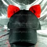 หมวกแก๊ป Cap สีดำ หูแมวสีแดง