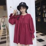 [พร้อมส่ง] เดรสกระโปรงสั้นทรงตุ๊กตาน่ารักสไตล์ญี่ปุ่นแขนยาว มีสีแดง/น้ำตาล/ดำ