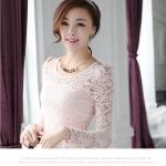 (สินค้าหมด) เสื้อลูกไม้ชีฟองแขนยาว สีพื้น เสื้อทำงานหรือลำลอง แฟชั่นเสื้อลูกไม้สไตล์เกาหลีปี 2014