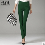 Pre-Order กางทำงานผู้หญิง กางเกงลำลอง กางเกงสแล็ค ขาตรง ขอบเอวผ้ายืด พอดีตัว สีเขียวเข้ม