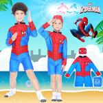( For Kids ) Swimsuit for Boy ชุดว่ายน้ำ เด็กผู้ชาย Spider-man บอดี้สูทแขนยาว กางเกงขาสั้น มาพร้อมหมวกว่ายน้ำและถุงผ้า สุดเท่ห์ ใส่สบาย ลิขสิทธิ์แท้