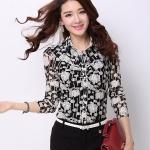 Pre-order เสื้อเชิ้ตชีฟองซีทรู แขนยาว เสื้อทำงาน พิมพ์ลายดอกไม้ขาวดำ แฟชั่นสไตล์เกาหลี