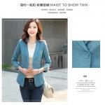 (Pre-order) เสื้อสูทแฟชั่น เสื้อสูทผู้หญิง แขนสามส่วน ผ้าลินินผสม สีฟ้า