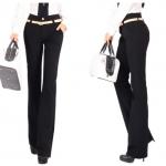 Pre-Order ลด 63% กางเกงแฟชั่นผู้หญิง ขาม้า ผ้ายืดเข้ารูปสีดำ