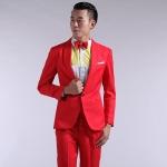 Pre-Order เสื้อสูทผู้ชาย แขนยาว สีแดง มีกระเป๋าเจาะที่อกซ้าย