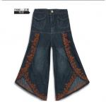 Pre-Order กางเกงขากว้าง กางเกงกระโปรง กางเกงกระโปรงลำลอง ผ้ายีนส์ผสม สีบลูยีนส์เข้ม ปักลายสวยหวาน Big size