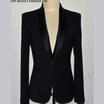 Pre-Order เสื้อสูทแฟชั่นเกาหลี เสื้อสูทเข้ารูป แขนยาวสีดำ สูทผ้าฝ้าย ปกและซับในผ้าซาตินเนื้อดี