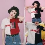 [Preorder] เสื้อยืดแนวสตรีทต่อผ้าปักตัวอักษร Burning มีสีแดง/ดำ