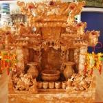 ศาลเจ้าที่หินอ่อน (ตี่จู้หินอ่อน ตี่จู้เอี๊ยะ) ขนาด 24 นิ้ว 888 4เสา 5 หลังคา หินน้ำผึ้งแก้วสยาม สามกษัตริย์