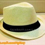 หมวกสาน ทรงไมเคิล สีขาวขอบเรียบ แถบดำ ฮิตๆ เท่ห์ !!!