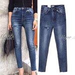กางเกงแฟชั่น Korea ripped jeans กางเกงยีนส์ขายาว งานฟอกขั้นเทพ