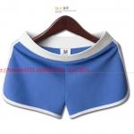 Pre-Order กางเกงขาสั้นลำลอง กางเกงชายหาด กางเกงออกกำลังกาย กางเกงโยคะ ผ้าฝ้าย สีฟ้าขลิบขอบขาว