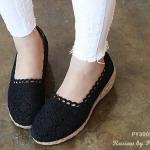 รองเท้าแฟชั่น ทรงสวย ด้านบนเป็นลูกไม้สวยงาม ส่วนด้านล่างทำจากผักตบอบแห้งเดีไซด์สวยงาม
