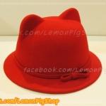 หมวกหูแมว ปีกรอบ สีแดง คาดโบว์ สุดฮิต !!