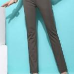 Pre-Order กางเกงขายาวผู้หญิงทำงานผ้ายืด เอวสูง ขาตรงกระบอกเล็ก ผ้าฝ้ายผสมสแปนเด็กซ์ กางเกงแฟชั่นเกาหลี สีกากีเข้ม