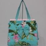 กระเป๋าสะพาย นารายา แฟชั่น Summer ผ้าคอตตอน สีเขียว ลายดอกไม้ (กระเป๋านารายา กระเป๋าผ้า NaRaYa กระเป๋าแฟชั่น)