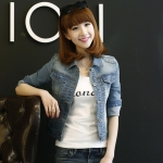 Pre-Order ขุดเสื้อแจ็คเก็ตยีนส์คอปกแขนสามส่วน เอวลอย แบบเข้ารูป ยีนส์ฟอก แฟชั้นนเกาหลี