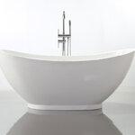 อ่างอาบน้ำตั้งพื้นทรงเรือ (ยกฐาน) ขนาด 1.7 เมตร อ่างอาบน้ำราคาถูก อ่างสปา อ่างแช่ตัว อ่างแช่น้ำ อ่างอาบน้ำอะคริลิค เครื่องสุขภัณฑ์ แบบห้องน้ำสวยๆ 1.7M Modern Acrylic Freestanding Bathtub (ฺB15)