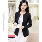Pre-Order เสื้อสูทแฟชั่นเกาหลี เสื้อสูทเข้ารูป แขนยาว ซับในครึ่งตัว ไม่มีปก สีลูกกวาด สีดำ