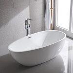 อ่างอาบน้ำตั้งพื้นทรงไข่ ขนาด 1.3 -1.8เมตร อ่างสปา อ่างแช่ตัว อ่างอาบน้ำอะคริลิค อ่างน้ำ อ่างอาบน้ําราคาถูก อุปกรณ์ตกแต่งห้องน้ำ แบบห้องน้ำสวยๆ 1.3M-1.8M Acrylic Oval Bathtub Freestanding SPA Overflow Curved Modern Bathroom (B03)