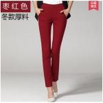 Pre-Order กางทำงานผู้หญิง กางเกงลำลอง กางเกงสแล็ค ขาตรง ขอบเอวผ้ายืด พอดีตัว สีน้ำตาลแดง