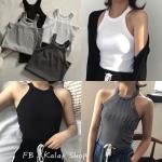 [พร้อมส่ง] เสื้อกล้ามสายห้อยคอทรงสวย มีสีขาว/ดำ/ลายทาง