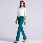 Pre-Order ลด 63% กางเกงแฟชั่นผู้หญิง ขาม้า ผ้ายืดเข้ารูปสีฟ้าปนเขียว