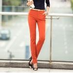 Pre-Order กางทำงานผู้หญิง กางเกงสแล็ค ขาตรง มี 3 สี สีดำ สีส้ม และสีครีม