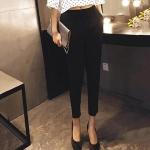 Pre-Order กางเกงสแลคผู้หญิง กางเกงทำงาน ผ้าโพลีเอสเตอร์ กางเกงทรงดินสอ เอวสูง ไซส์ใหญ่ สีดำ